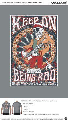 Greek Week Shirt #decades #rock #n #roll #guitar #music #greek #week Greek Week, Custom Design Shirts, Rust Orange, Sorority And Fraternity, Color Shorts, Comfort Colors, Hunter Green, Screen Printing, Guitar
