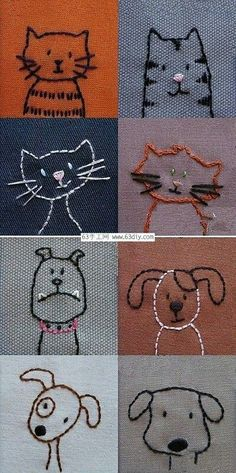 Tiergesichter nähen Sewing animal faces The post Sewing animal faces appeared first on Pink Unicorn. Simple Embroidery, Hand Embroidery Patterns, Embroidery Art, Cross Stitch Embroidery, Machine Embroidery, Embroidery Designs, Sewing Patterns, Ribbon Embroidery, Broderie Simple