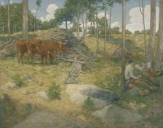 """""""Midday Rest in New England,"""" J. Alden Weir, 1897, oil on canvas, 39 5/8 x 50 3/8"""", Pennsylvania Academy of the Fine Arts."""