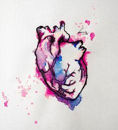 Watercolor Heart Tattoos on Pinterest   Anatomical Heart ...  Watercolor Heart Tattoo