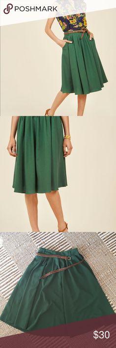Modcloth Breathtaking Tiger Lilies Midi Skirt Stem Green. A workwear essential. Modcloth Skirts Midi