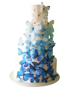 Edible Butterflies - WEDDING CAKE Topper - 40 Ombre Edible Butterflies in Blue - Wedding Cakes, Cake Decorations, Butterfly Cake--- love these!!!!