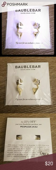 NWT BaubleBar gold pyramid sparkly stud earrings NWT, never used, still in plastic!  BaubleBar gold sparkly pyramid sparkly stud earrings.  Beautiful, subtle gold tone with diamante.  These will jazz up and go with so many outfits, from casual to formal!  Bundle to save! BaubleBar Jewelry Earrings