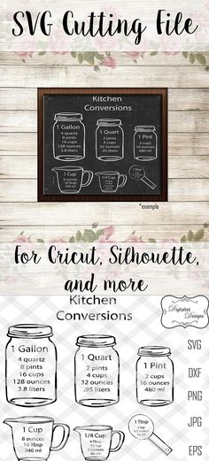 kitchen svg, measuring cups svg, measuring cheat sheet svg, cooking svg, silhouette, cricut cut files, vector, kitchen art, kitchen decor The downloaded files will not include watermarks. This is a print/cut file compatible with Cricut and Silhouette cutting machines This listing