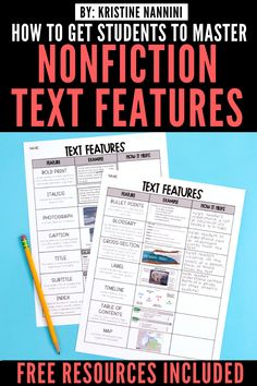 Freebies to Help Students Master Nonfiction Text Features - Education & Career Text Feature Anchor Chart, Nonfiction Text Features, Diy Blog, Upper Elementary, Teaching Tips, Anchor Charts, Free Downloads, English Language, Language Arts