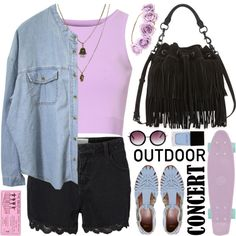 outdoor concert style by jesuisunlapin on Polyvore featuring Glamorous, Lipsy, ASOS, Rebecca Minkoff, Jamie Jewellery, Monki, Witchery and Retrò