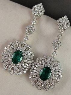 ESTATE 7.33CTW DIAMOND EMERALD 18K WHITE GOLD HANGING CLUSTER EARRINGS #3.335728 | eBay