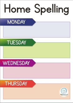 Weekly Home Spelling Chart — Edgalaxy