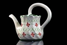 Watering Can, Casa Fina, Portugal, RCCL, Watering Pitcher, Hand Painted, Green, White, Red, Porcelain by MountainAireVintage on Etsy