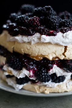 This blackberry cardamom pavlova calls for homemade blackberry jam and homemade blackberry whipped cream.  Get the recipe at Adventures in Cooking.