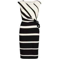 Gina Bacconi Graduated Stripe Jersey Dress, Black/Ivory ($215) ❤ liked on Polyvore featuring dresses, maxi dress, sleeveless maxi dress, sleeveless jersey, striped midi dress and striped shift dress