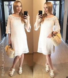 Woman crochet lace dress Jasmine pattern instant download