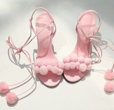 shoes strappy heels pink high heels pom poms baby pink high heels high heel sandals puffs pink blush light pink prissy tie up lace up heels heels girly cute pink heels
