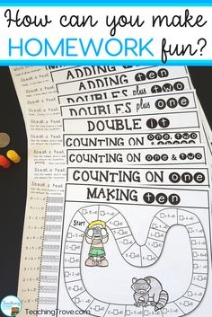 Assign homework that is more interesting and less stressful for both parents and children by using homework math games.