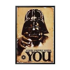 Art.com - Star Wars - Your Empire Needs You, Multi ($80) ❤ liked on Polyvore featuring home, home decor, wall art, multi, framed posters, black home decor, framed wall art, star wars home decor and black poster