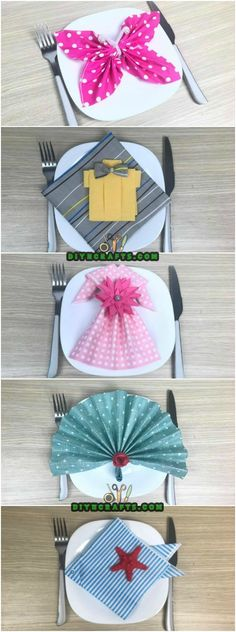 5 Creative and Mind-Blowing Napkin-Folding Tricks in Under 4 Minutes - Learn how to make butterfly, fish, dress, shirt and fan napkins with our easy to follow video tutorial. via @vanessacrafting