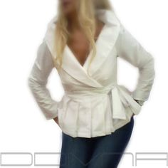 Wrap White shirt  cotton blouse/ Smart casual Work/ Career shirt for women by FedRaDD