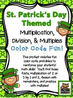 Kids love to color!  Here is a super fun product for your children to use to teach and reinforce some basic math skills in multiplication and division!There are 6 different printables included in this product.*basic multiplication 0 - 12*basic division 0- 12*multiplication of 2 or 3 digits by 1 digit*multiplication of 2 or 3 digits by 2 digits*division with a 2 or 3 digit dividend by a 1 digit divisor*multiplesI included an answer key for the more difficult multiplication and division…