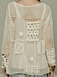 Crochet Blusas Crochet Free Form Patchwork Inspired Free People Fall Pullover - Charts and Instructions T-shirt Au Crochet, Poncho Au Crochet, Beau Crochet, Pull Crochet, Mode Crochet, Crochet Jacket, Freeform Crochet, Crochet Woman, Crochet Blouse
