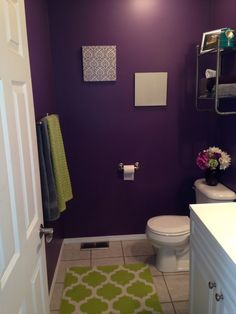 Gray And Dark Purple Bathroom With Line Green Accents Rug
