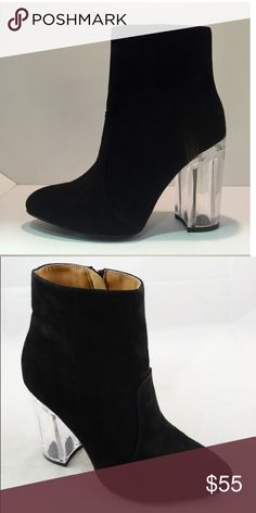 Black Clear Heel Booties - zipper closure on the side - suede - pre- order. ships out in 10-12 days.  --------------------- Let's keep in touch ❤️ 💟Instagram: @lanier_boutique 💟Facebook : Lanier Boutique 💟 Twitter: @lanierboutique 💟Snapchat: lanierboutique Shoes Ankle Boots & Booties