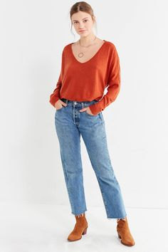 12c5d43cb7af Shop Out From Under Oversized Cozy Thermal V-Neck Top at Urban Outfitters  today.