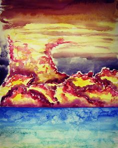 """47 Likes, 2 Comments - Spotted Dog - Dan Masello (@spotted_dog_art_studio) on Instagram: """"Storm. Watercolor, 2010. #watercolor #storm #clouds #sunset #sunrise #ocean #sea #art #fineart…"""""""