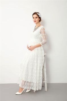 46279fbad2ba8 maternity gown photography prop Maternity Dress Pregnant Women Clothe New  Mom Dresses lace Mothers Day 2018 from yunrao, $38.2
