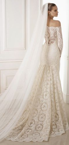 Pronovias 2015 Bridal Collections  Pronovias 2015 Lace Wedding Dress wedding dresses bridal gown bridal gowns mermaid cut vintage lace sleeves lace back buttons modest