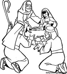 Shepherds Visit The Baby Coloring Page