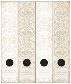 Antique wallpaper inspired Lever Arch labels in white linen and aged paper colours.