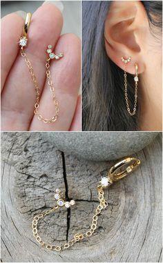 No Piercing Ear Jacket Corset Weaving/fake faux piercing/ear wires wrap/piercing imitation/cartilage earcuff/oreille manchette/conch ohrclip - Custom Jewelry Ideas Ear Jewelry, Cute Jewelry, Crystal Jewelry, Crystal Earrings, Gold Jewelry, Diamond Earrings, Jewelry Accessories, Jewellery, Double Earrings