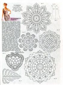 Uncinetto d'oro: Meraviglioso abito da sera! Freeform Crochet, Crochet Diagram, Crochet Motif, Crochet Flowers, Crochet Lace, Crochet Stitches, Irish Crochet Patterns, Crochet Designs, Russian Crochet