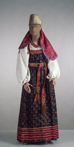 Arkhangelsk Province, Russian |  National costume of an unmarried girl | 2nd half of the 19th c.  |  State Hermitage Museum