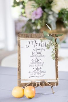 60 Gorgeous Wedding Menu Ideas – Food, Wine & Recipes [tps_header]Your wedding table is made up of lots of little components from centerpieces and place cards to wedding menus and favors and your guests will only be too happy to pop down Wedding Food Menu, Wedding Menu Cards, Wedding Signage, Wedding Stationary, Wedding Tables, Wedding Foods, Wedding Catering, Rustic Wedding Menu, Wedding Menu Display