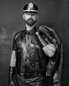 Leather Hats, Men's Leather Jacket, Leather Fashion, Leather Men, Black Leather, Jacket Men, Cigar Men, Tom Of Finland, Hot Cops