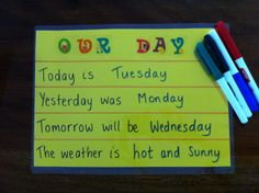 LEARNING DAYS OF THE WEEK. http://www.kidsactivitiesandtipsforeveryday.blogspot.com.au/