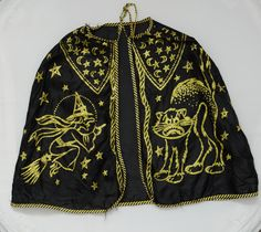 1950s Halloween Costume Cape Gold Glitter Cat Witch Moon Stars