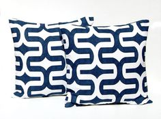 Decorative Throw Pillow Covers Home Decor Cushion Covers 18 x 18 Inches - Premier Navy Blue on White Slub Embrace by Premier Prints