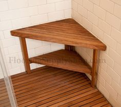 Teak Corner Bench Small For Shower And Outside Area