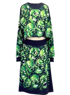 0cd1941d70a1f Skull Pile All Over Print Oversize Crop Top & Skirt Co-Ord Set Glow In The  Dark