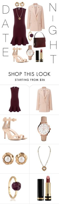 """""""date night"""" by meenjasmin ❤ liked on Polyvore featuring McQ by Alexander McQueen, Carven, Gianvito Rossi, FOSSIL, Géraldine Valluet, Gucci and Lautēm"""
