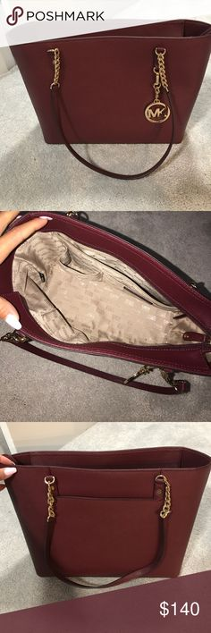 Michael Kors Tote Bag is like new. I've used it once. It's in perfect condition. There is absolutely no wear marks on the bag and the inside is perfect! It's been sitting in my closet and needs love! (: MICHAEL Michael Kors Bags Totes