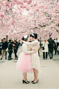 A blissful cherry blossom Stockholm wedding. <3 #offbeatbride