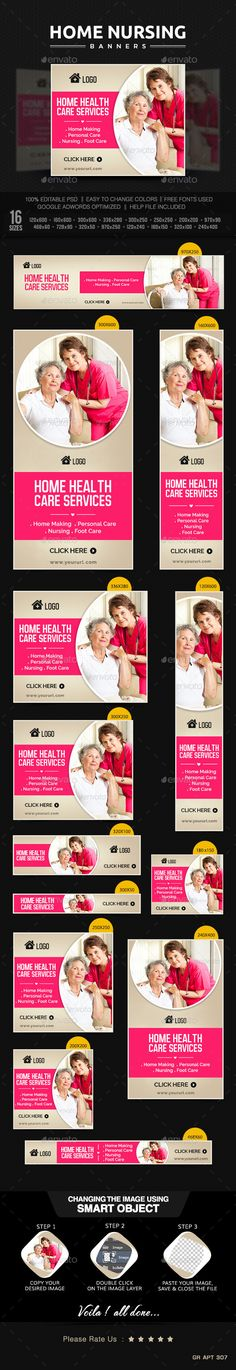Buy Home Nursing Banners by Hyov on GraphicRiver. Promote your Products and services related to Home Nursing niche with this great looking Banner Set. Education Banner, Website Promotion, Rollup Banner, Pop Posters, Google Ads, Banner Template, Corporate Design, Goods And Services, Banner Design