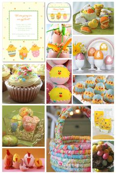 Easter Fun- Happy Hatchlings Easter Invitation and Mint Tins, Easter Cookies from Williams-Sonoma; Scrambled Eggs; Botantical Eggs from Martha Stewart; Vanilla Cupcakes; Chickies Cupcakes; Chicken Little Stuffed Eggs; Sparkly Eggs; Cheeky Chickens;  Fabric Easter Basket; Daisies Jello Centerpiece; Easter Egg Centerpiece.