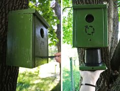 GC-Just a little hooked...: Birdhouse cache box. Note the wooden pin device to keep the cache elevated into the birdhouse.
