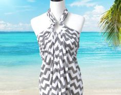 mccalls beach cover up | Grey Chevron Swimsuit Cover Up, Beach Dress Sarong, Wrap, Bathing Suit ...