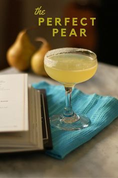 The Perfect Pear, a cocktail with pear brandy, lemon, orange, and simple syrup. A citrusy and refreshing cocktail with a half-sugared rim. Brandy Cocktails, Festive Cocktails, Refreshing Cocktails, Craft Cocktails, Cocktail Drinks, Fun Drinks, Yummy Drinks, Cold Drinks, Beverages