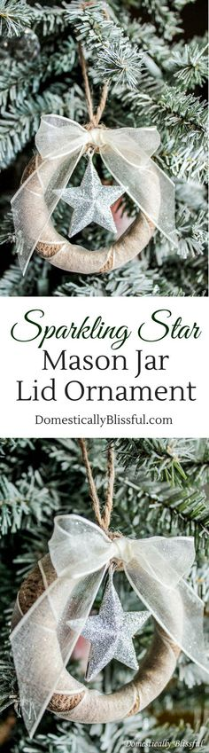 This Sparkling Star Mason Jar Lid Ornament is an inexpensive yet beautiful way to add new Christmas ornaments to your Christmas tree!